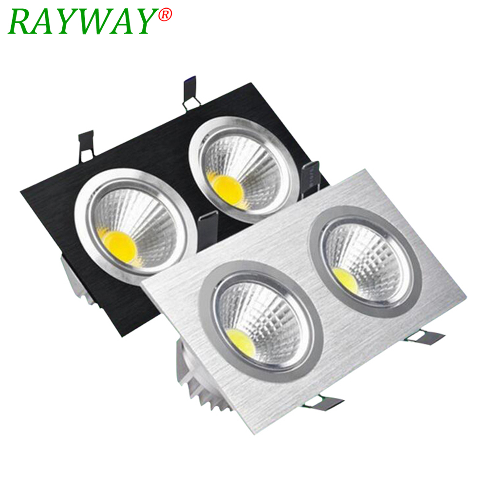 RAYWAY Recessed LED Dual COB light source Ceiling Downlight LED Ceiling lamp AC85-265V Black/Silver Body Color Down Lights