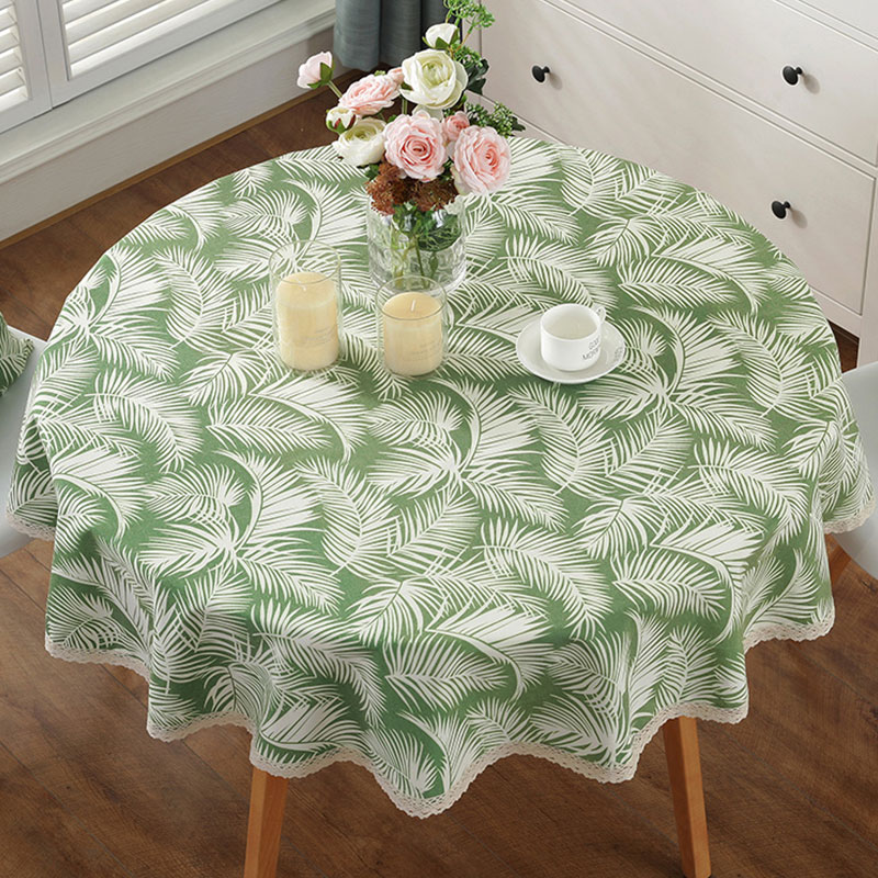 Round Tablecloth Cotton Linen Print Table Cover Waterproof Anti-hot Rectangle Table Cloth Home Coffee Restaurant Table Cloth