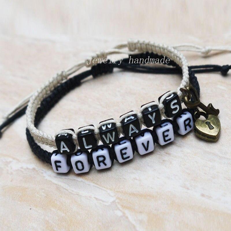 Aliexpress.com Comprar Bloqueo de teclas parejas pulsera ama pulsera Hers su siempre para siempre brazalete novio joyas novia regalos pulsera de exhibición