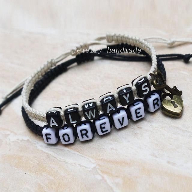 e148c61a67 Key lock Couples Bracelet Loves Bracelet Hers His Always Forever Bracelet  Boyfriend girlfriend jewelry