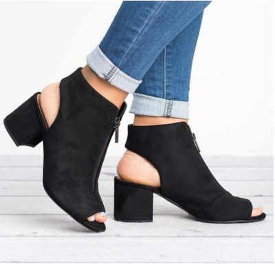 Nieuwe Enkellaarsjes Faux Suede Leather Casual Open Peep Toe Hoge Hakken Rits Mode Vierkante Rubber Zwarte Schoenen Voor Vrouwen maat 34-43