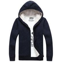 Men Spring Cardigan Sweater Casual Men's plus velvet thickening big long sleeve sweaters hooded Winter Sweater Men Brand coat