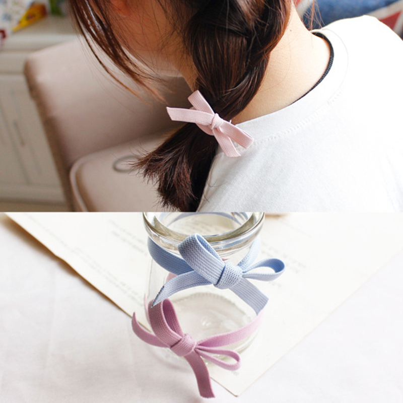 High Elastic Hair Bands Cute Pure Color Bow Wide Stretch Hair Ties For Women Girls Ponytail Holder Hair Ropes Hair Accessories in Women 39 s Hair Accessories from Apparel Accessories