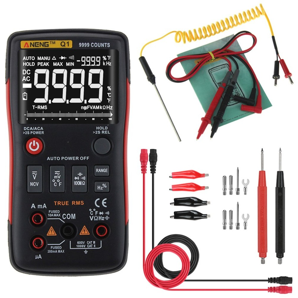 Digital Multimeter ANENG Q1 9999 Counts True RMS Auto/Manual Range AC/DC Volt Amp Ohm Capacitance Frequency Temperature Tester true rms 2000 counts manual range 10a 600v resistance capacitance frequency students use victor digital multimeter vc205