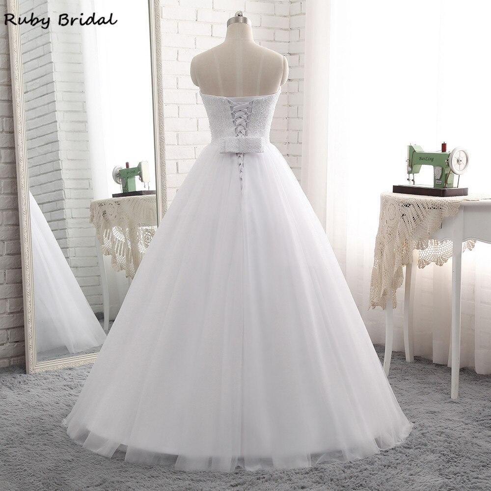 Ruby Bridal 2017 Elegant Vestido De Noiva Long Ball Gown Wedding Dresses Cheap White Tulle Beaded Strapless Bridal Gown PW70-in Wedding Dresses from Weddings & Events    2