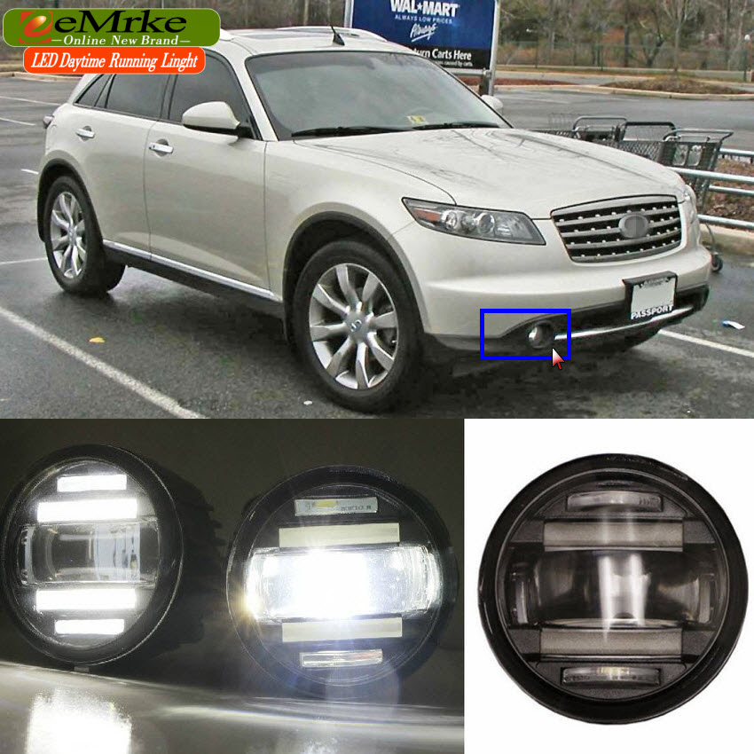 eeMrke For Infiniti FX S50 S51 FX35 FX37 FX45 FX50 QX70 2in1 Multifunction LED Fog Lights DRL With Lens Daytime Running Lights for infiniti fx35 37 45 50 ex35 37 h11 wiring harness sockets wire connector switch 2 fog lights drl front bumper led lamp