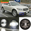 eeMrke For Infiniti FX S50 S51 FX35 FX37 FX45 FX50 QX70 2in1 Multifunction LED Fog Lights DRL With Lens Daytime Running Lights