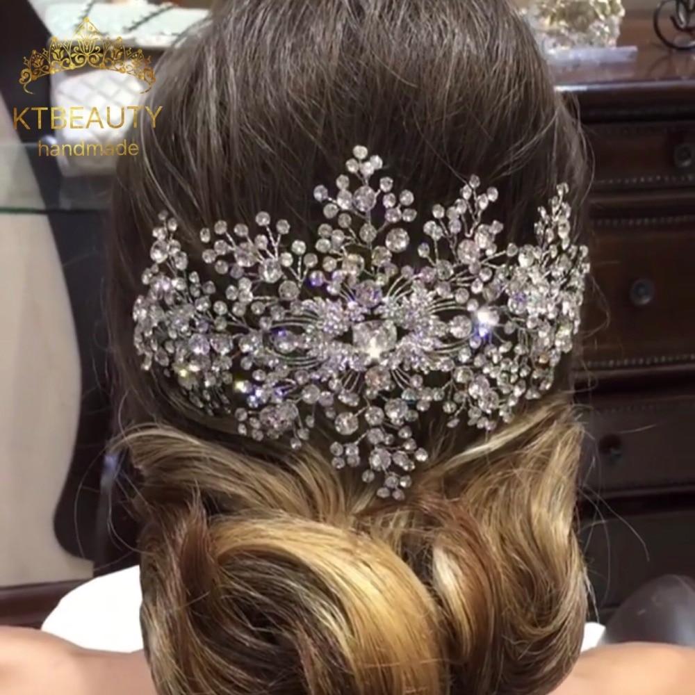 Noticias Headpiece cristal real personalizada hecha a mano de cristal nupcial Tiara nupcial boda pelo accesorios joyería Tiaras coronas