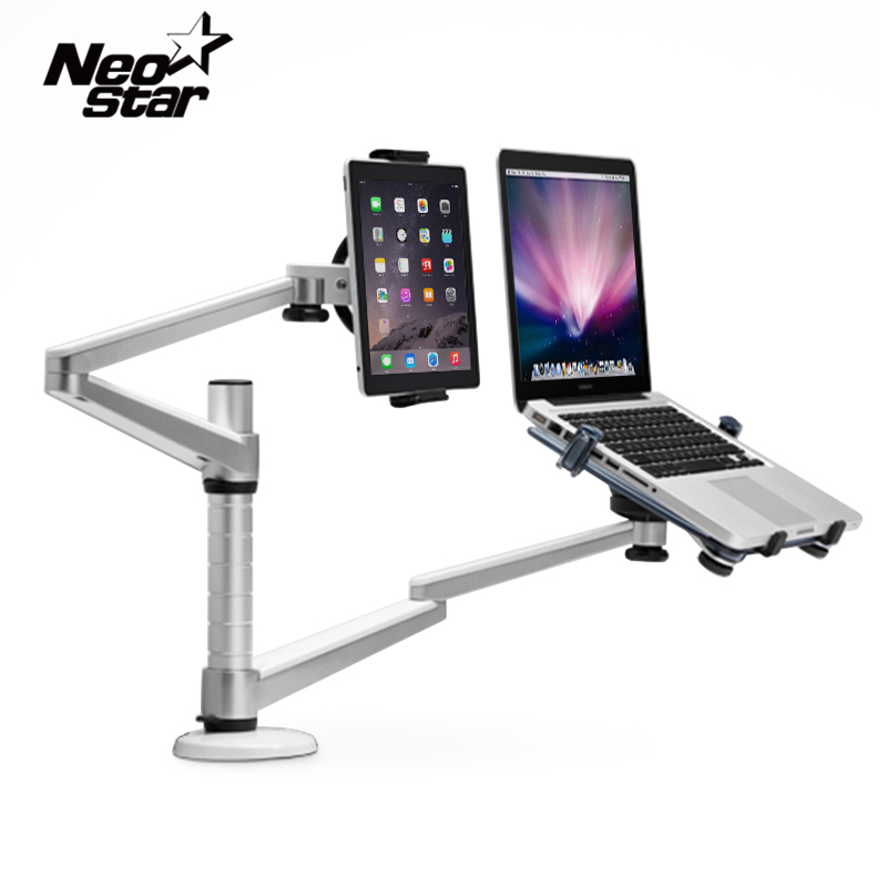 Universal 2 In 1 Two Arms Tablet Notebook Stand For IPad For Macbook 7-10 Tablets 10-15 Inch Notebook PC Laptop Bed Desk Holder hbt3570100 universal 3 7v 3000mah built in battery for 7 8 9 10 10 1 tablet pc silver