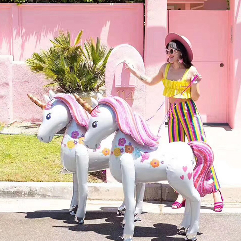 Image 2 - unicorn party big balloon stand 3d horse birthday party decorations kids cartoon animal unicorn birthday wedding balloons-in Ballons & Accessories from Home & Garden