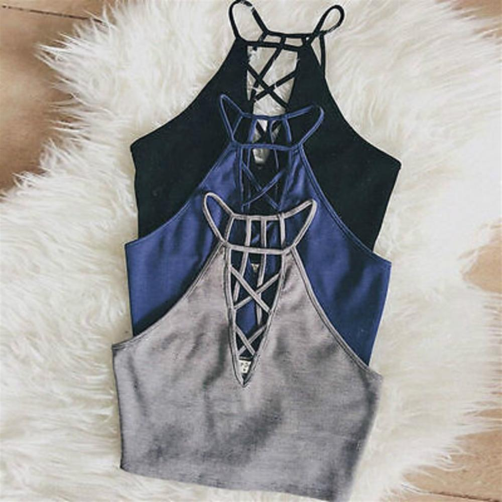 Fashion Summer Women Casual Bandage Halter Tank Tops Vest Tees Sleeveless Leotard Crop Tops Camis Shirts NEW ...