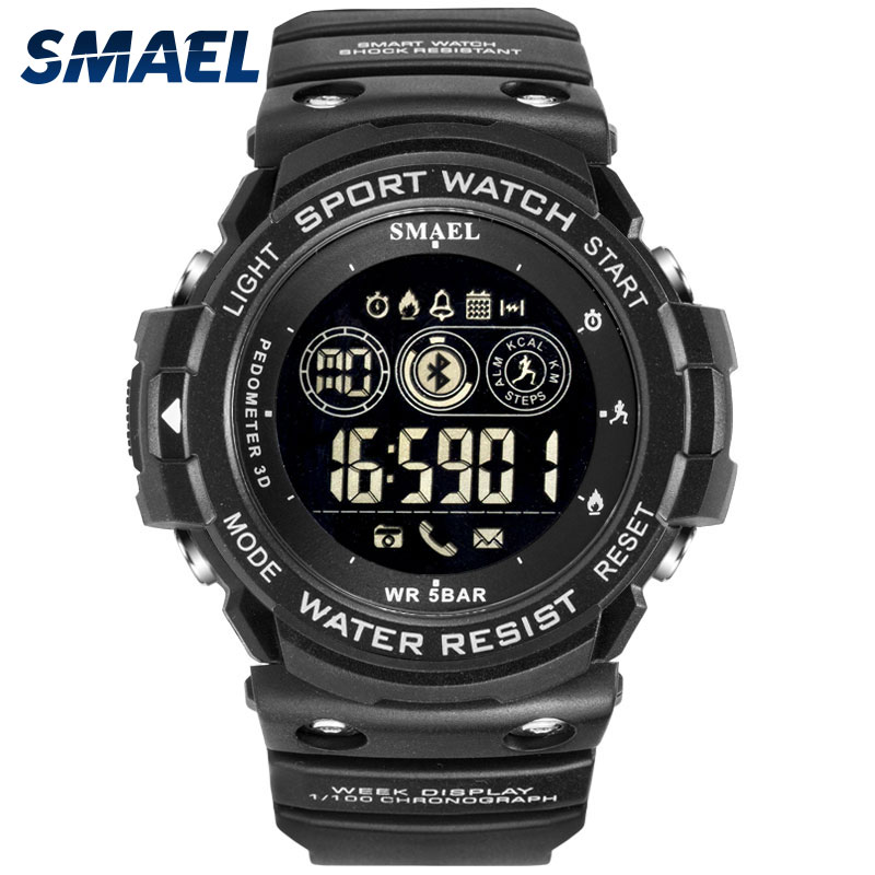 SMAEL Bluetooth Watch Clock Chronograph Smart-Wristwatches Led-Display Digital Auto-Date