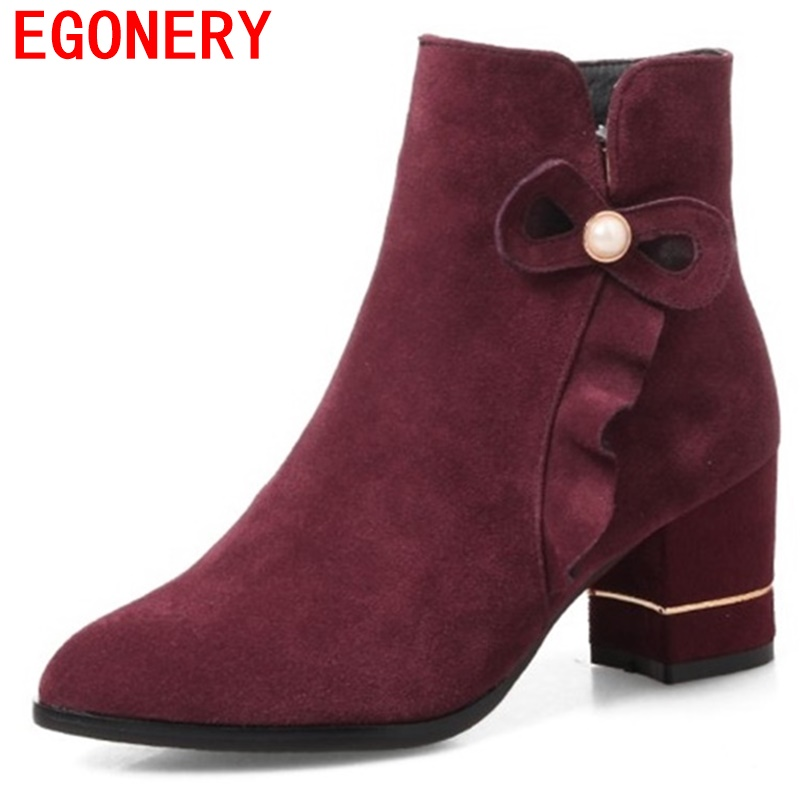 egonery ankle boots plus size matte faux suede high heel shoes side zipper black gray booties woman good quality boots heels egonery quality pointed toe ankle thick high heels womens boots spring autumn suede nubuck zipper ladies shoes plus size