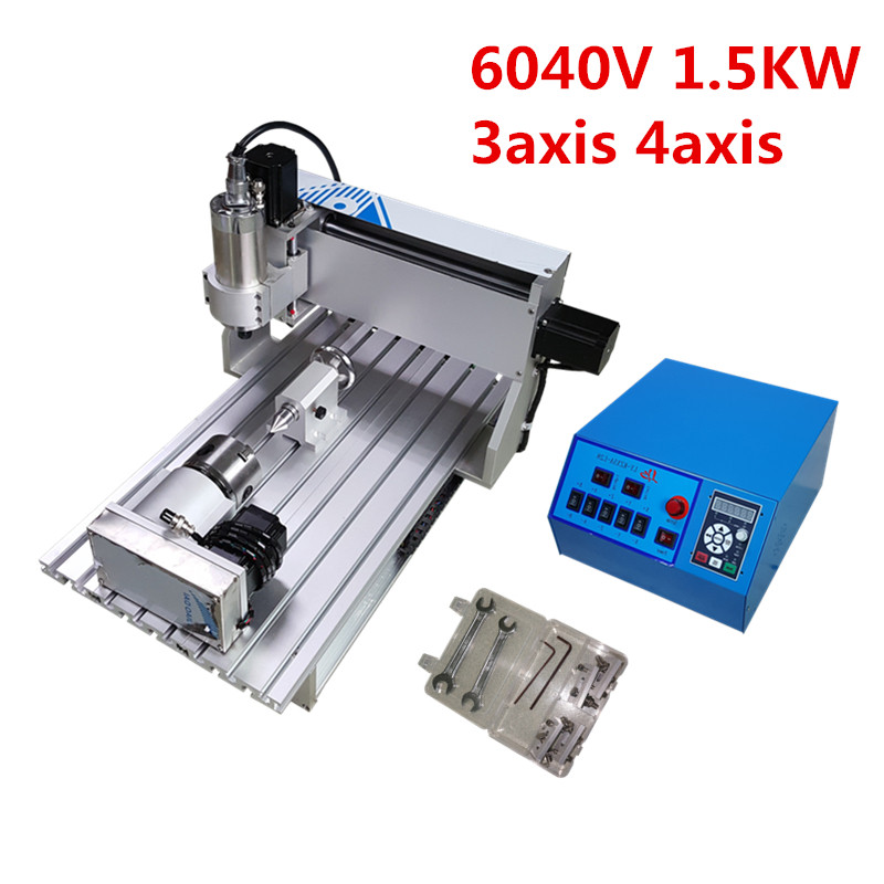 6040 CNC Router 1.5KW 3axis 4axis Metal Cutting Engraving Drilling Milling Machine aluminum frame engraver stone metal wood 800w cnc 6040 3 axis cnc router engraver engraving drilling and milling machine