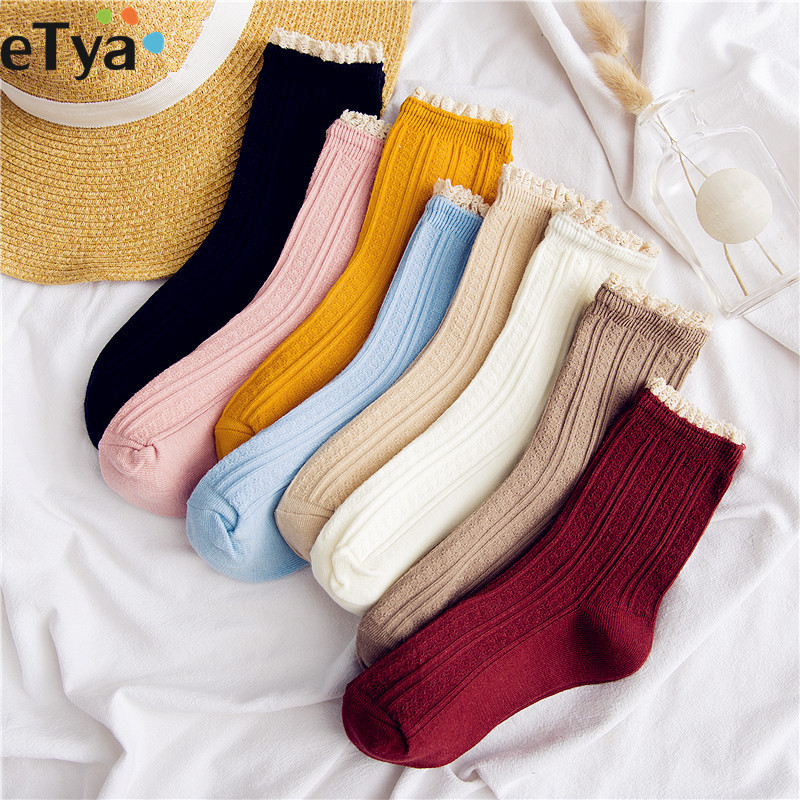 45cba41c6e338 eTya 2019 New Fashion Women Lace Sock Winter Spring Autumn Casual Socks Girl  Student Vintage Sox