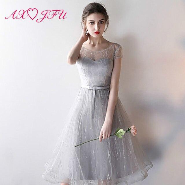 741a6bfe5 AXJFU gris Vestidos de Noche de encaje gris nuevo Hermana arco Vestidos de  Noche de graduación