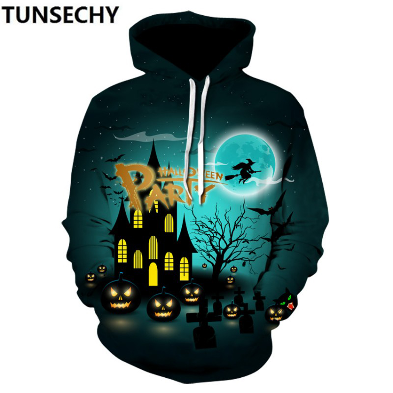 Halloween costumes 2018 autumn winter new men's digital pumpkin lights 3Dprinted garment wholesale and retail