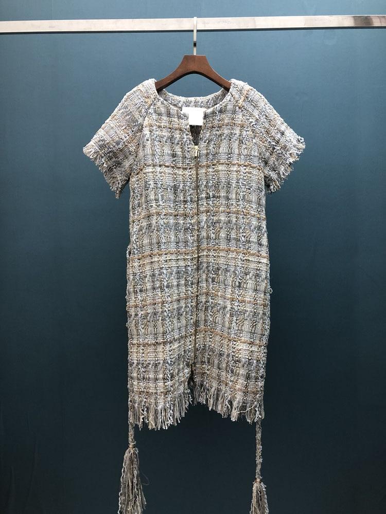 18 autumn Fashion show women's high-end quality tweed woven lace tassel dress Short sleeve miniskirt lattice Belt mini dress 9