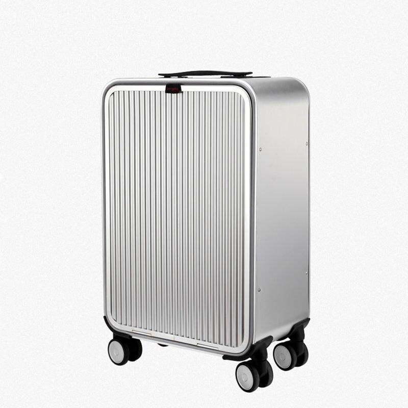 """20 """"24"""" นิ้วอลูมิเนียม 100% กระเป๋าเดินทาง Malas de viagem com rodinhas TSA Lock รถเข็นกระเป๋าเดินทางกระเป๋าเดินทาง-ใน กระเป๋าเดินทางแบบลาก จาก สัมภาระและกระเป๋า บน   1"""