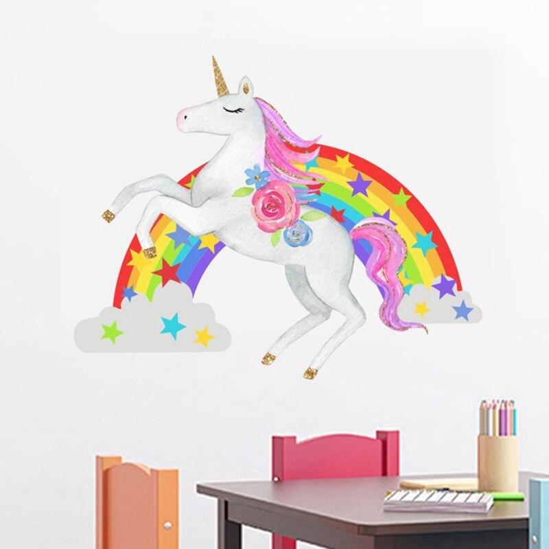 Pegatinas de Pared Unicornio Arcoiris,Pegatinas de Pared Unicornio,Decoraci/ón de Pared de Arcoiris Unicornio,Patr/ón de Unicornio Pegatinas,para Dormitorio Infantiles Habitaci/ón Beb/és Ni/ñas 1