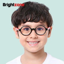 Brightzone 2018 New Children Anti Blue Light Glasses Round Plain Ray Glass Mirror Boy Girl Goggles Frame Clear Optical Kids Cute