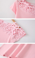 Lace Cotton Patchwork Basic T-shirts Casual Tops Short Sleeve For Women