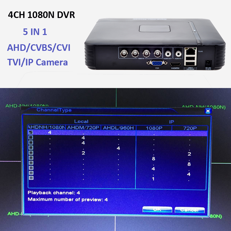 AHD 1080N 4CH 8CH CCTV Mini DVR AHD TVI CVI CVBS For HDMI Security System Onvif