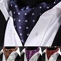2016 hombres de La Vendimia Bufandas Cravat Ascot Tie Auto Caballero Británico Polka Floral Bufanda de Seda Corbata de Poliéster Para la boda partido