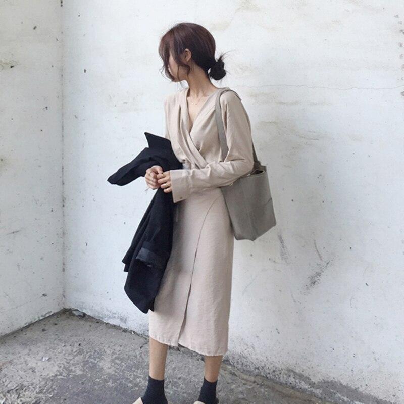 CHICEVER Bow Bandage Dresses For Women V Neck Long Sleeve High Waist Women's Dress Female Elegant Fashion Clothing New 19 26