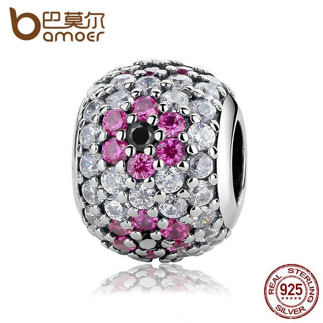 Bamoer cumpleaños regalo de plata de ley 925 perlas de cristales de color rosa flor granos de los encantos cupieron las pulseras y joyería de diy que hace pas317