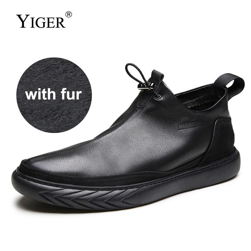 YIGER New Men Ankle Boots Genuine Leather Man Casual boots Cow Leather Winter with fur warm