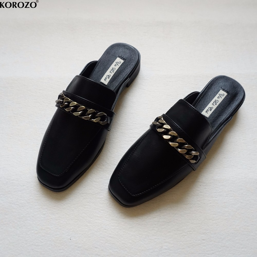 Black Heels Closed Toe Slip On Shoes