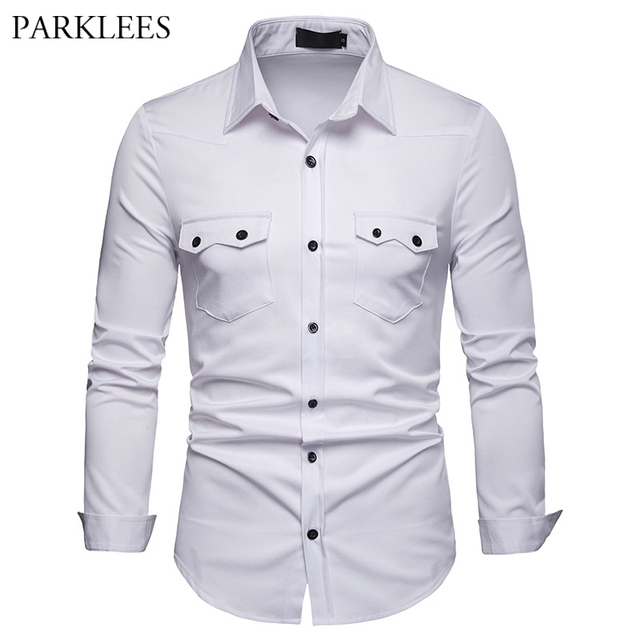 d3b613b7 Brand Whie Men Shirt 2019 Fashion Double Pocket Design Long Sleeve Dress Shirt  Men Slim Fit Casual Social Shirts Chemise Homme