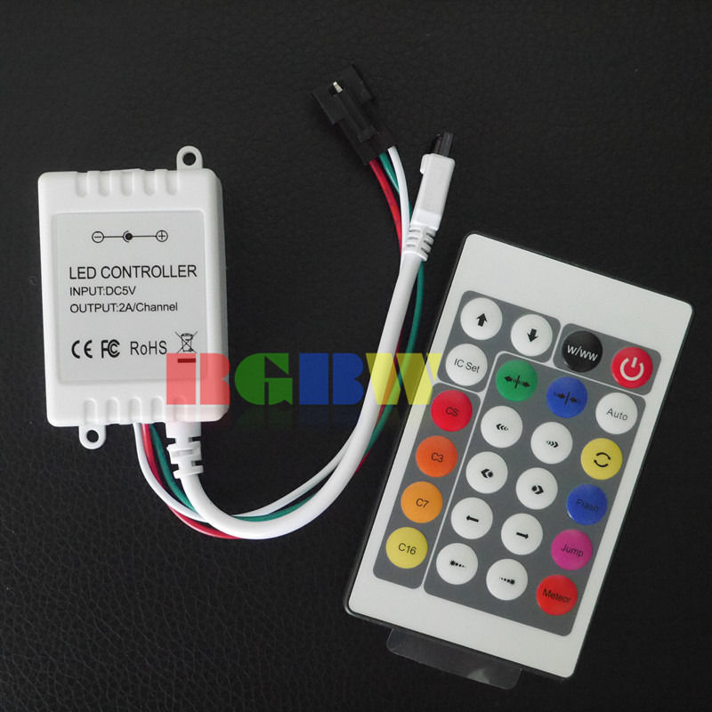 new arrivals 59db0 dbe51 US $5.69 5% OFF|24 Keys IR Remote Controller for WS2811 WS2812 WS2812B LED  Strip 5V 12V Version-in LED Strips from Lights & Lighting on Aliexpress.com  ...