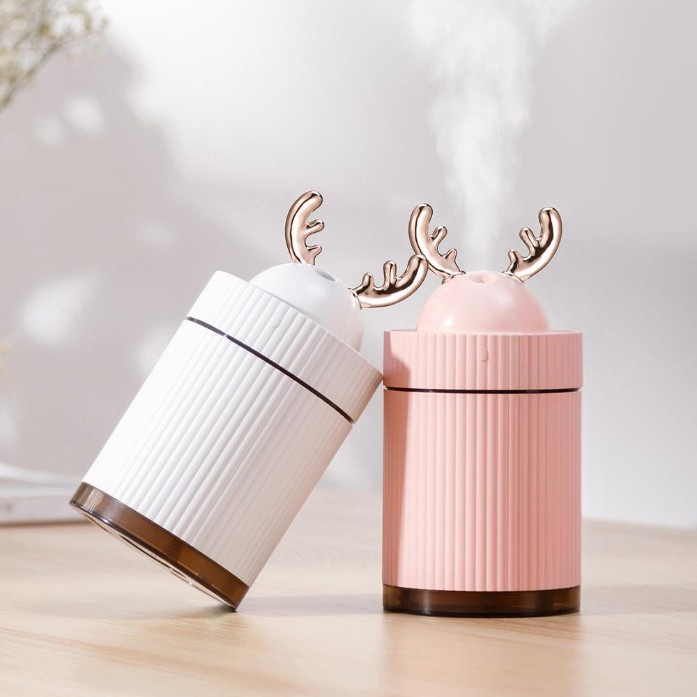 Deer Ultrasonic Air Humidifier Essential Oil Diffuser 7 Color Lights Electric Aromatherapy USB Humidifier Car Aroma Diffuser