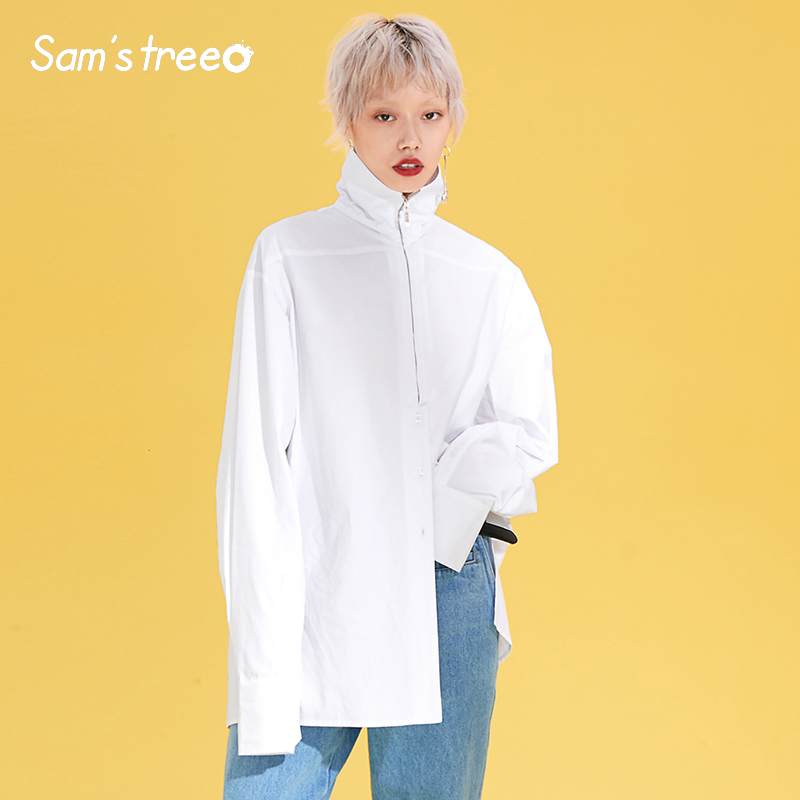 Women Oversize White Blouses Normcore Zipper Turtleneck Shirts Female Minimalist Modest High Street Cotton BL Blouses