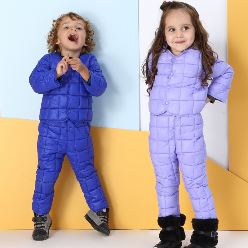 Kids clothing sets Boys parkas set Girls clothes Polyester fiber filler Thicken sets Warmed for winter Roupas infantis menino