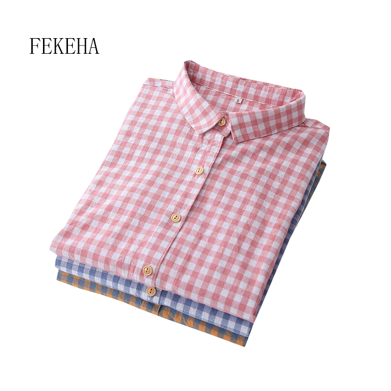 FEKEHA Whale Embroidery Women Plaid Shirts Casual Long Sleeve Cotton Female Tops School Check Blue Pink Blouses Women Autumn