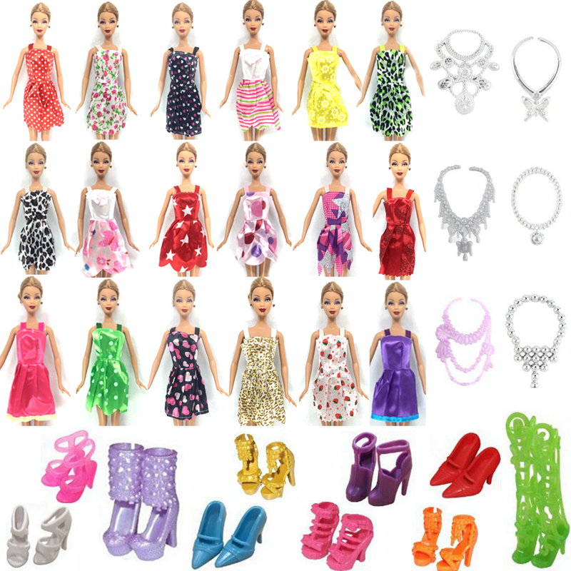 NK Hot Sell 26 Item/Set=10 Pcs Mix Sorts Beautiful Party Clothes Fashion Dress+6 Plastic Necklac+10 Pair Shoes For Barbie Doll random 12 pcs mixed sorts barbie doll fashion clothes beautiful handmade doll party dress for barbie dolls girl gift kid s toy
