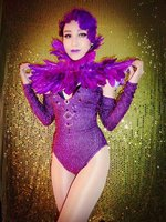 Sexy Rose Crystals Bodysuit Feather Shoulder Skirt Outfit Bright Sequins Shining performance Costume Nightclub Dance Leotard