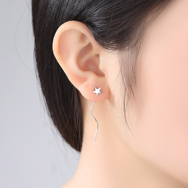 PAG&MAG New Design 925 Sterling Silver Drop Earring With Shiny Star&Long Silver Earrings For Girl Banquet Party or Anniversary'