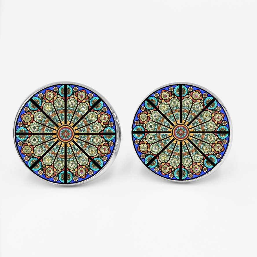 Cufflinks Shirt Geometric Silver Husband High-Quality Gift Men's Star Glass Handmade