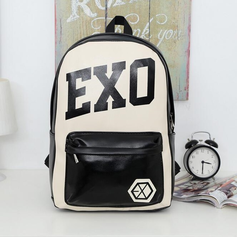 Unisex Leather EXO Backpack School Bags For Teenagers Girls Boys Preppy Style Travel Shoulder Bags Student Bookbag Backpacks 2017 new fashion backpacks men travel backpack women school bags for teenagers girls pu leather preppy style backpack