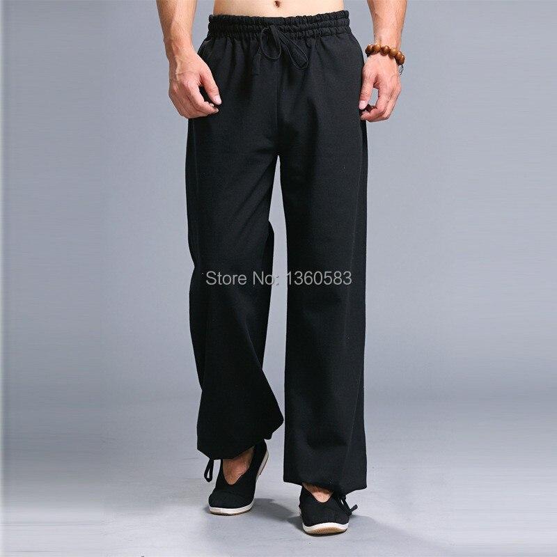 Высочайшее качество Мужчины брюки Классический Черный кунг-фу спортивные брюки боевых искусств тай-чи штаны досуг обучение Белье Хлопок брюки
