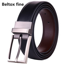 Men's Belts Genuine Leather Dress Reversible Belt with Rotated Buckle Two Belt in One size 26-54 Inch Waist Strap(China)
