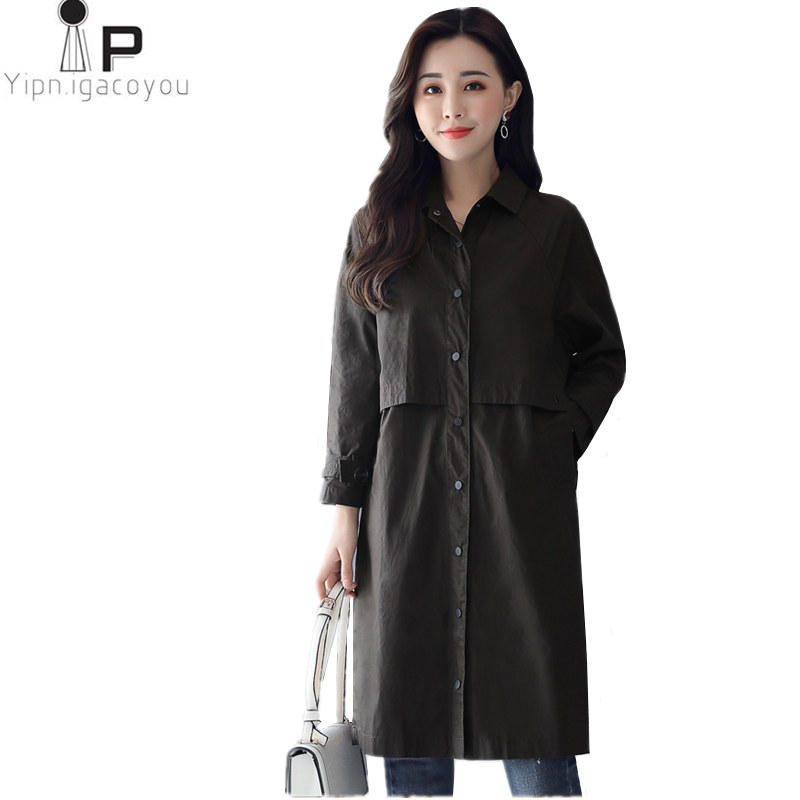Harajuku Long Coat Women's Windbreaker Overcoat Autumn Female Big Size Long Sleeve Women   Trench   Coat Elegant Female Streetwear