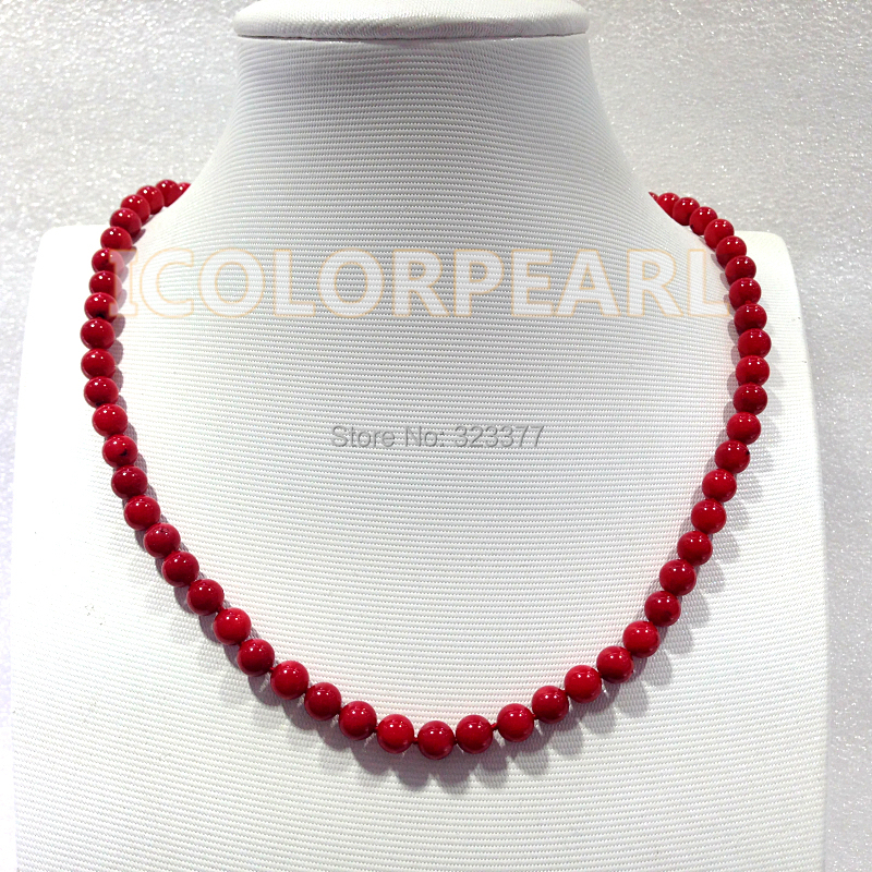 WEICOLOR Nice 6mm Round Coral Jewelry Necklace. Best Gift For All Girls!WEICOLOR Nice 6mm Round Coral Jewelry Necklace. Best Gift For All Girls!