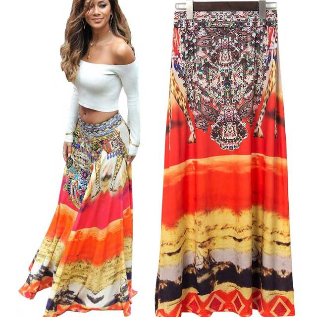 Women High Waist Long Skirt and Top Set Vintage Bohemian Boho Style Tribal  Floral Print Beach