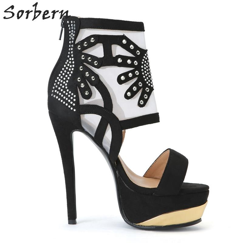Wrap Hauts Noir Femme Casual Fleurs Sandales Taille Maille Strass Grande Transparent Chaussures Cheville D'été Talons Sorbern OtHUwxU