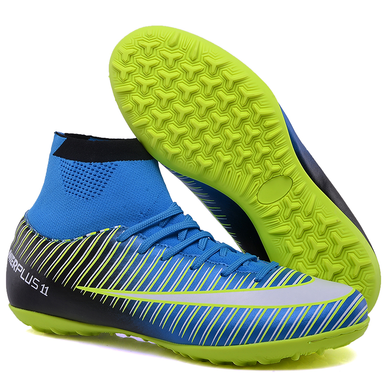 fe1c57176 turf soccer shoes men kids CR7 TF Cleats futsal soccer boots high ankle boys  superfly football boots professional training shoes-in Soccer Shoes from  Sports ...